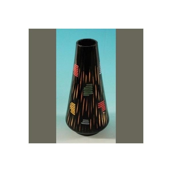 Glass vase with colored...