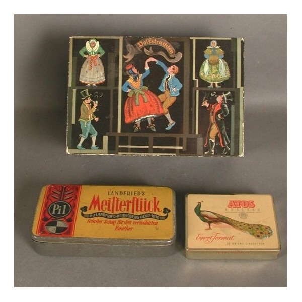 Three advertising tins....