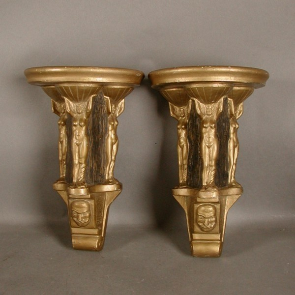 Art Nouveau. Two gypsum...