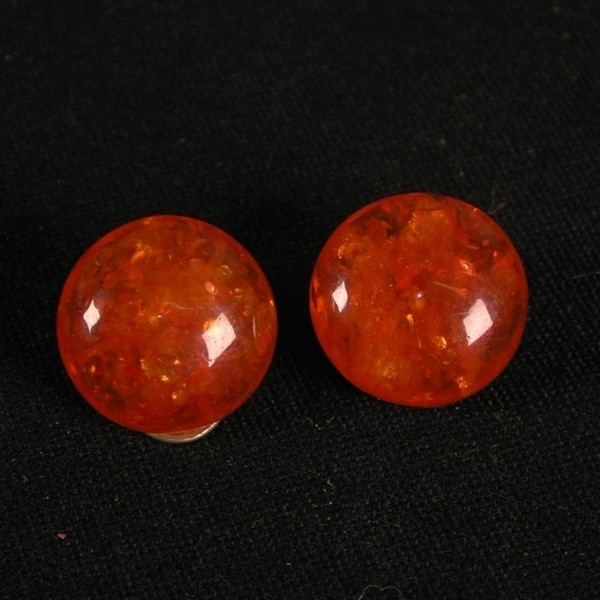Amber earclips. 835 silver....