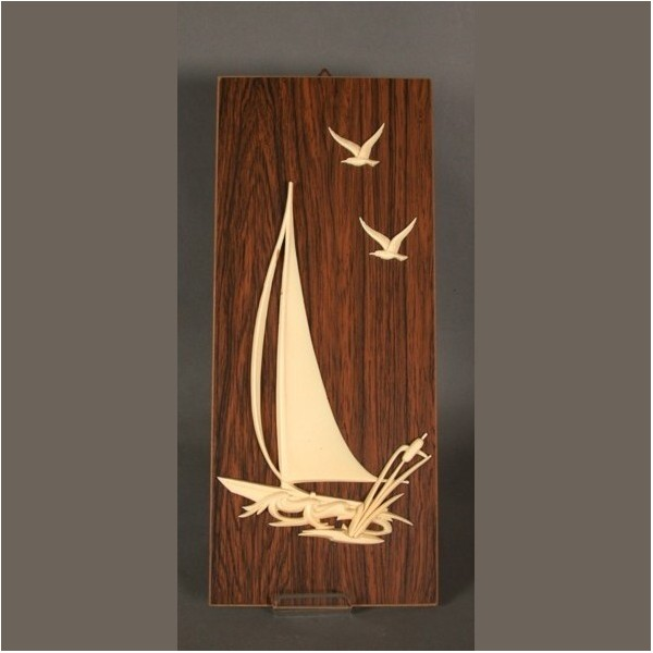 Vintage. Ship motif on wood...