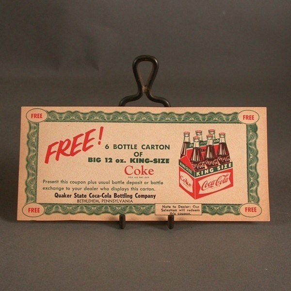 Coca - Cola coupon for six...