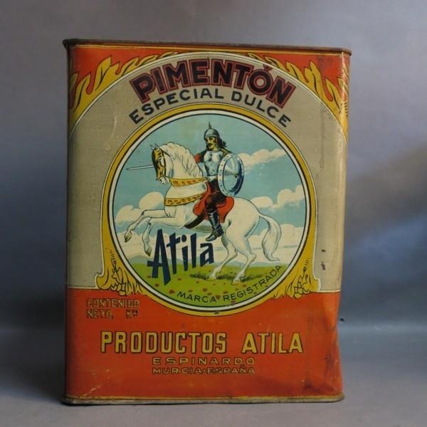 Advertising tin. Atila...