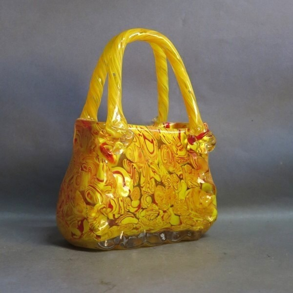 Glass handbag. Millefiori...