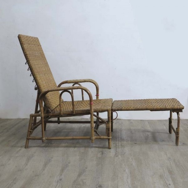 Rattan woven chaise with...