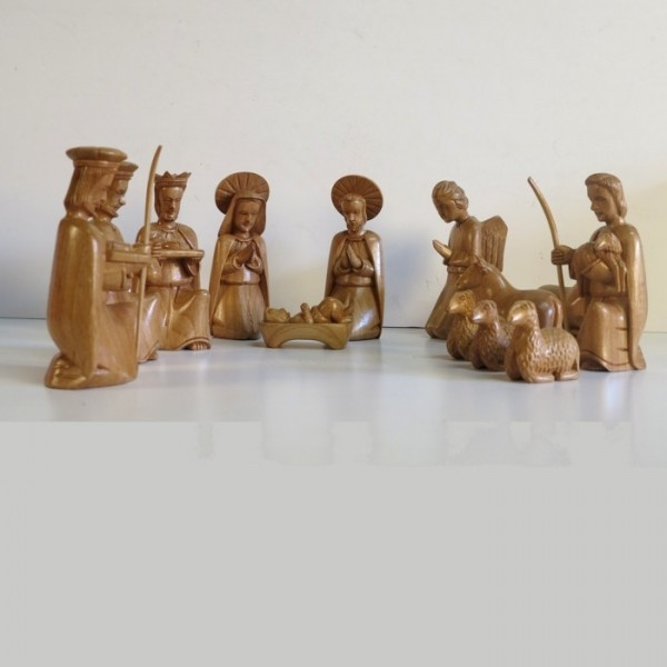 14 Carved wood nativity...