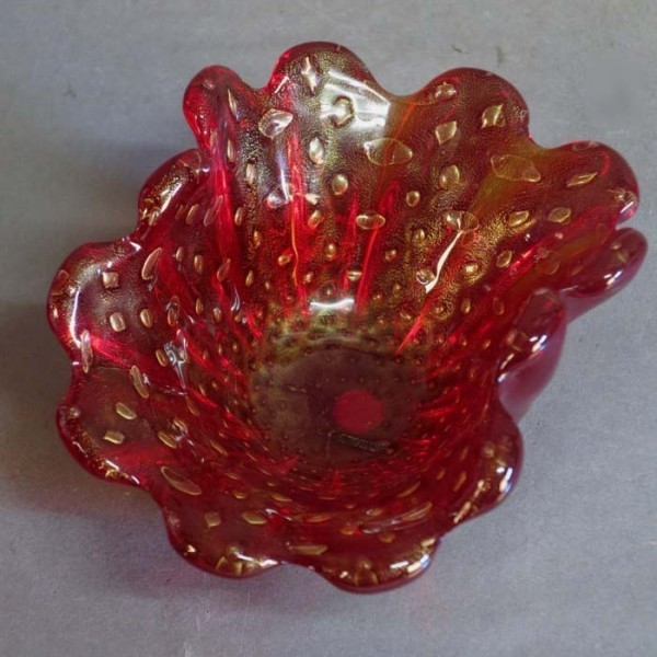 Murano glass bowl with gold...