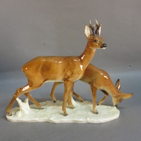Roe deer porcelain figure...