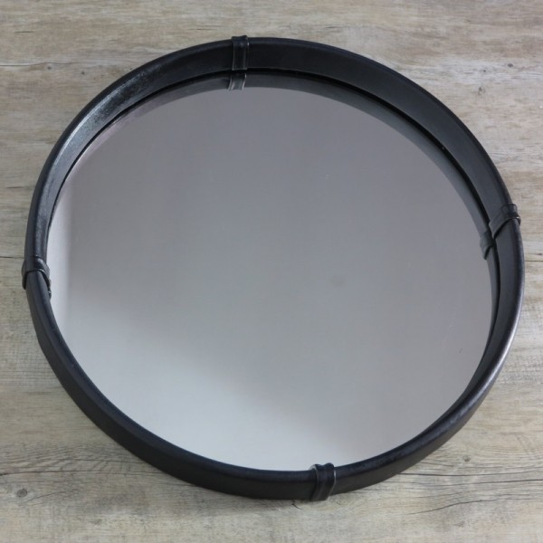 Wall mirror with leather...