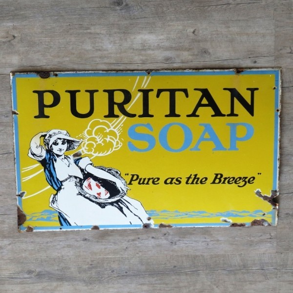 Advertising sign. Puritan...