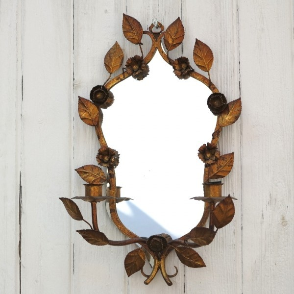 Vintage mirror with floral...