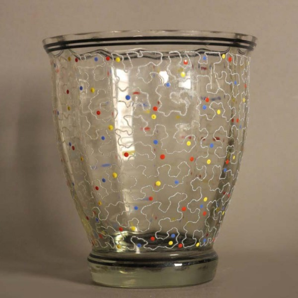 Glass vase with enamel...