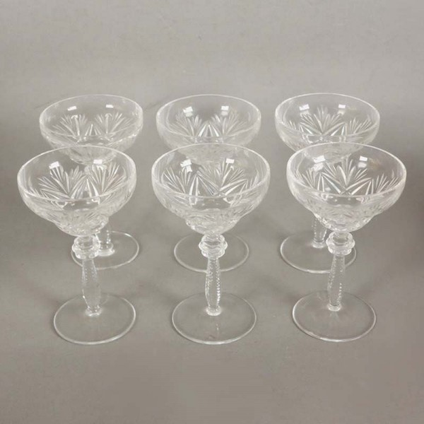 Six liqueur glasses made of...
