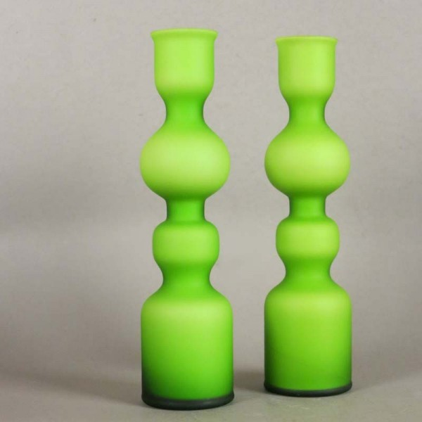 Two lime green glass vases...