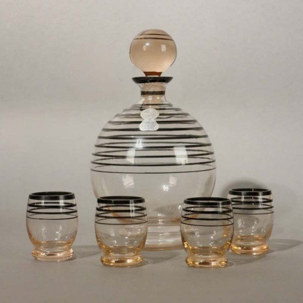 Glass liqueur carafe with...