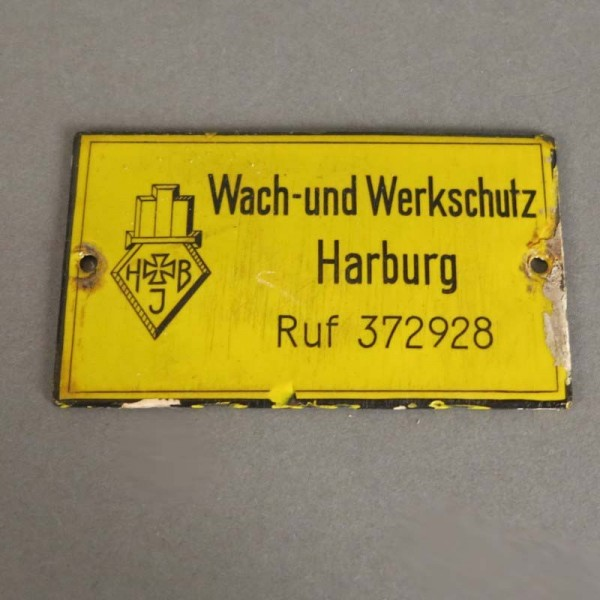 Enamel sign from Harburg....