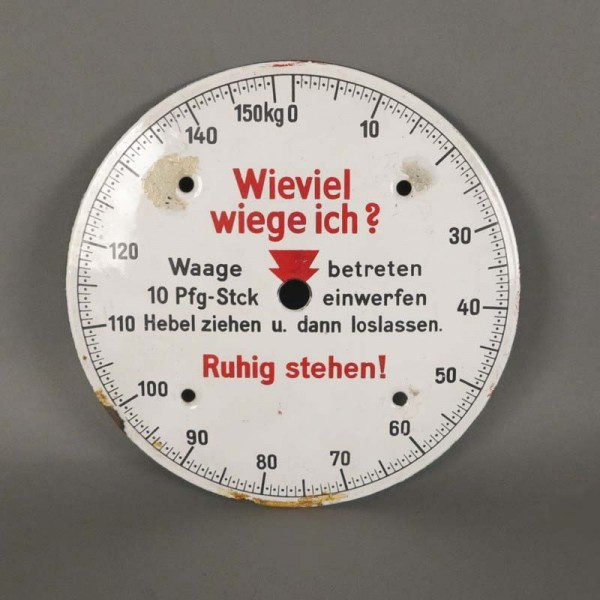 "Enamel sign ""How much do I..."