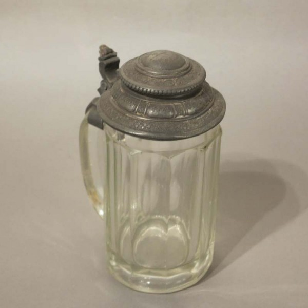 GLASS BEER MUG WITH TIN...