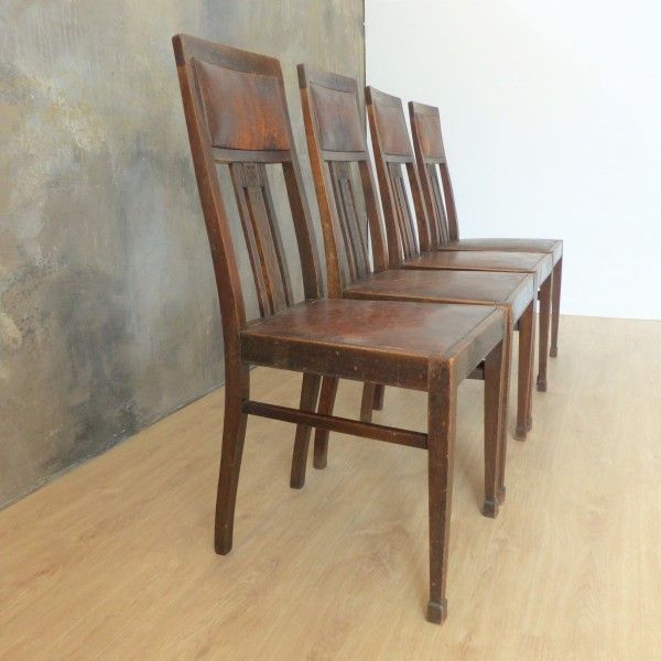 Four Art Nouveau chairs in...