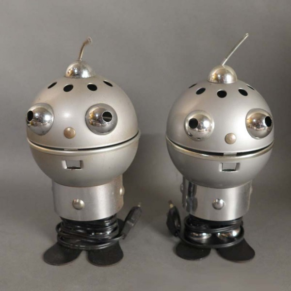 Dos lámparas Vintage robót...