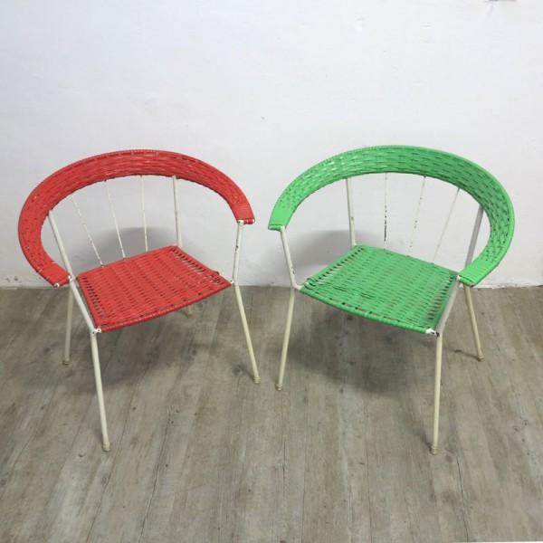 Vintage Gartenstühle in Rot...