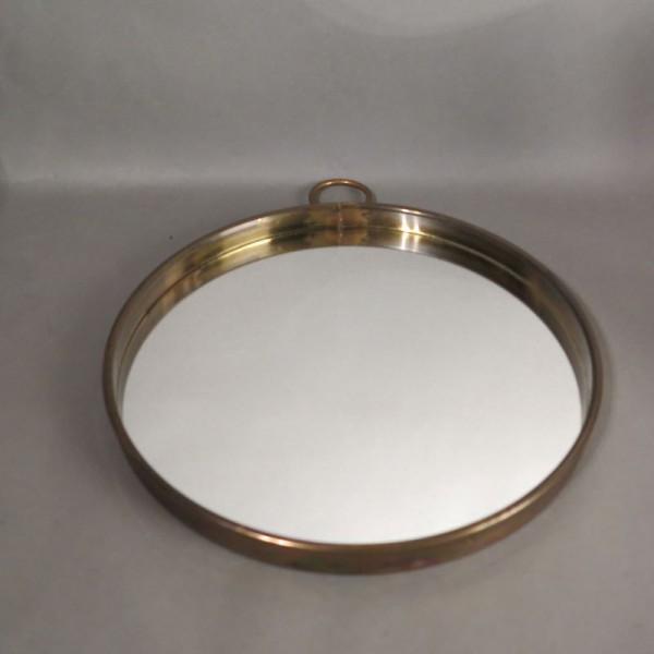 Round vintage brass mirror....