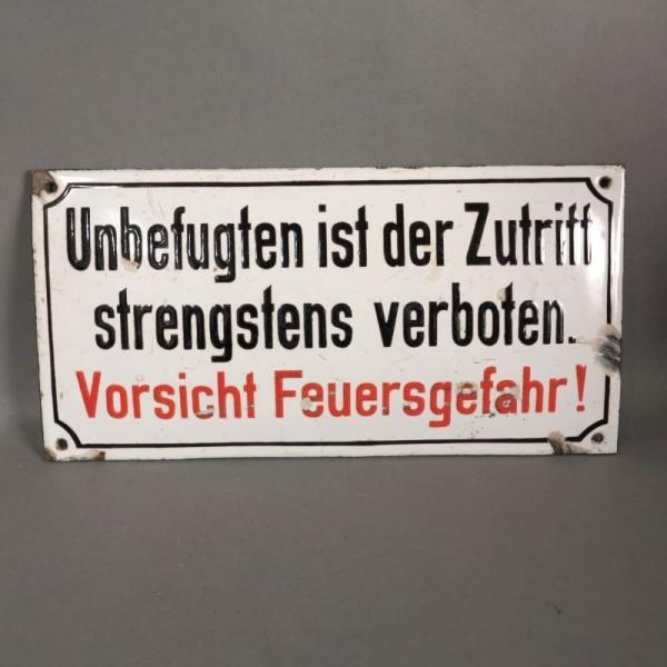 Enameled information sign....