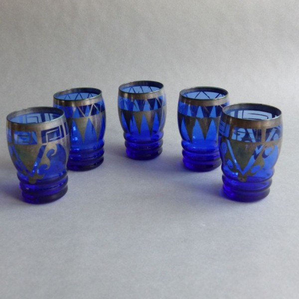 Five Art Deco glasses with...