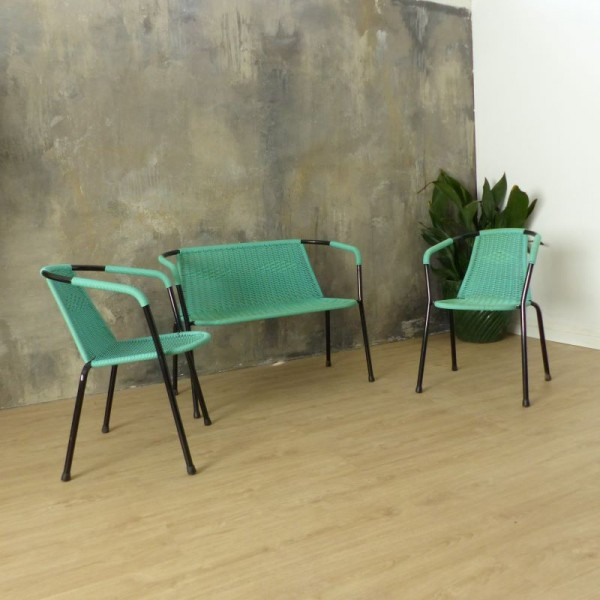 Green seating group made of...