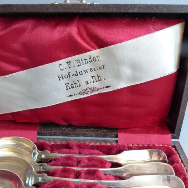 Six Art Nouveau silver...