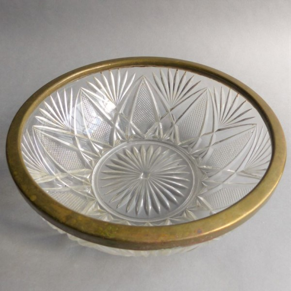 Cut glass bowl with brass...
