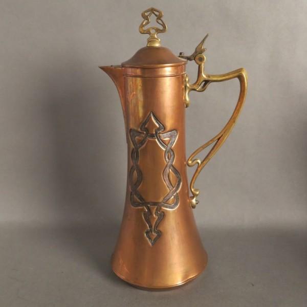 Art Nouveau copper jug with...