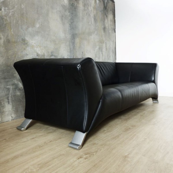 Black three-seater leather...