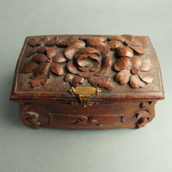 Carved wooden jewelry box....