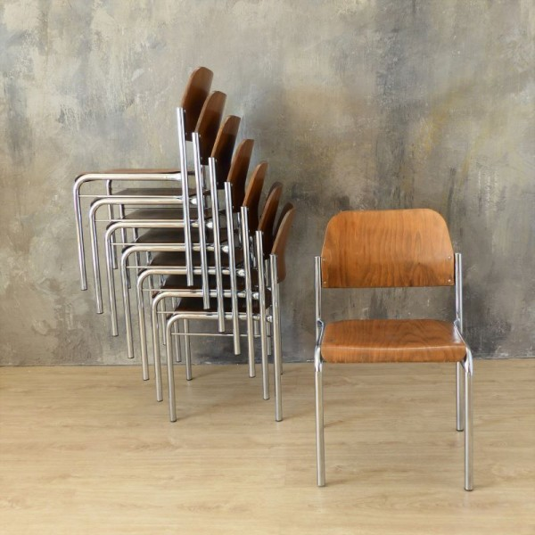 Four wood chairs with...