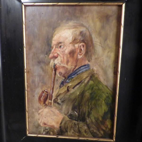Painting oil on wood. Man...